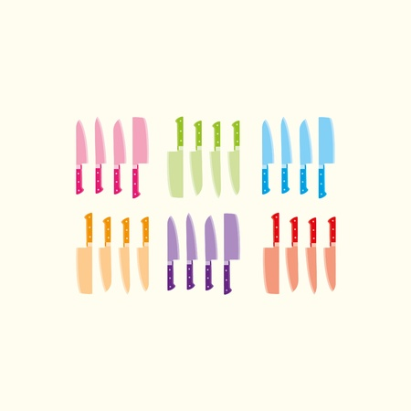 Six sets of colourful knives on a cream background