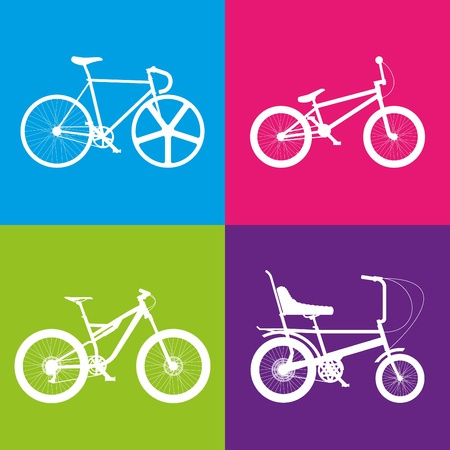 Four white bikes on colour squares