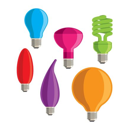 Six colourful lightbulbs on a white background