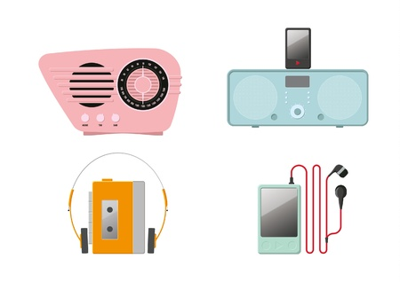 vintage radio: Four colourful music players on a white background