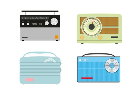 Four retro radios on a white background
