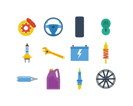 Automotive icons in a flat style