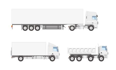 Three white trucks, side view Illustration