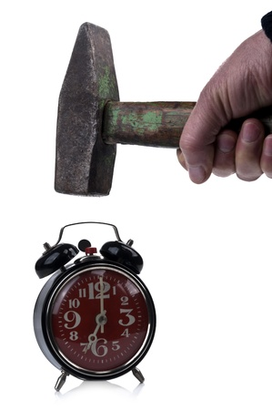 oversleep: Hammer and Clock Stock Photo