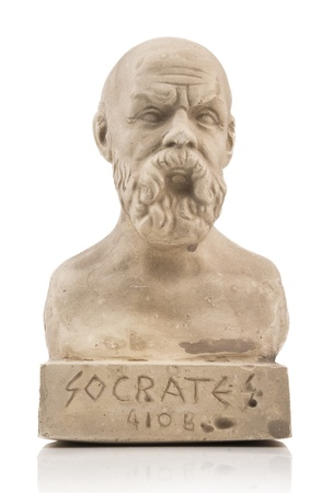 Socrates statue isolated on white