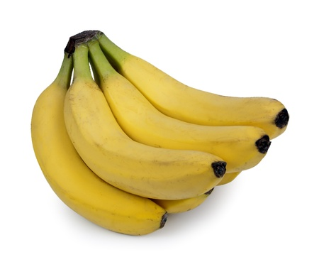 eating banana: Fresh bananas isoloated on white