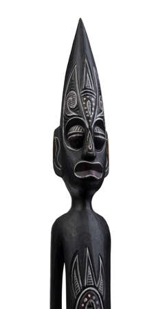 african mask: African statue isolated on white Stock Photo