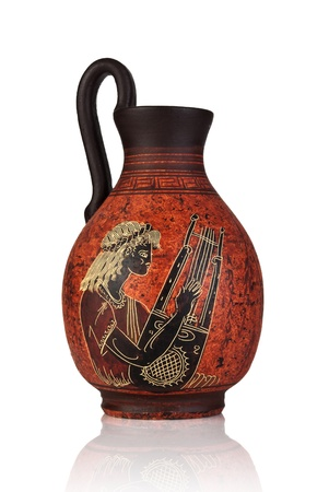 Ancient greek jar with Apollo picture from 500-580 b c