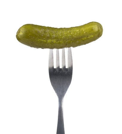 Pickle on fork isolated on white