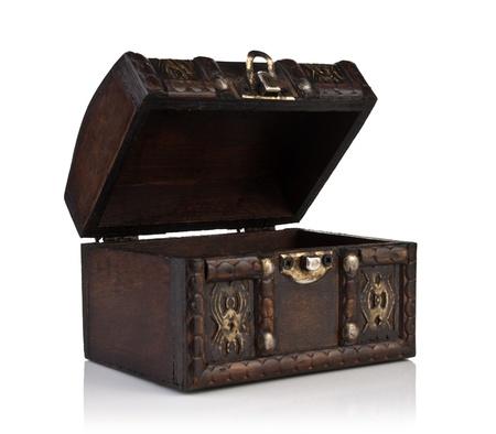 cofre del tesoro: Brown, el ataúd abierto de madera aislado en blanco