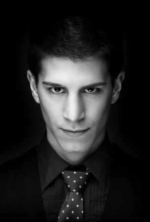 Close up portrait of an attractive man - black and white