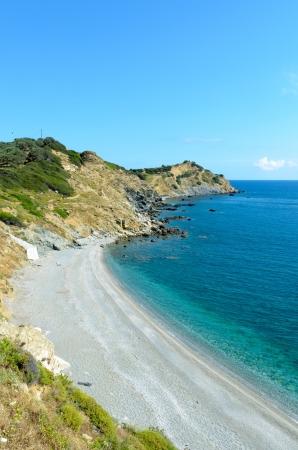 skiathos: Beautiful coastline cliffs of Skiathos island, Greece Stock Photo