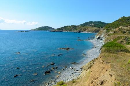 skiathos: Cliffs on the coastline of Skiathos, Greece Stock Photo