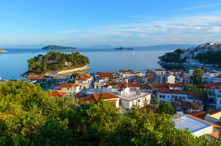 Blue sea and mediterranean houses on Skiathos island - Greece