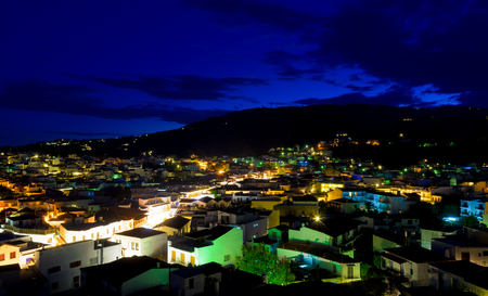 skiathos: Lights of Skiathos town at night - Greece