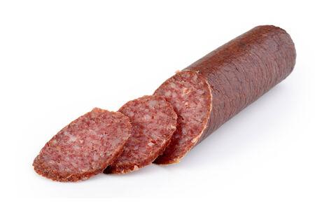 Smoked sliced salami - isolated on white Stock Photo