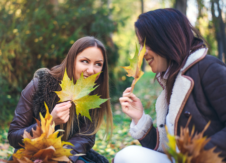 Two cute young women gossiping outdoors in a park as they collect handfuls of autumn leaves grinning and sharing intimate secrets