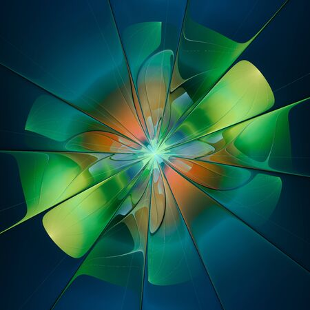 Silky smooth abstract green flower on blue background
