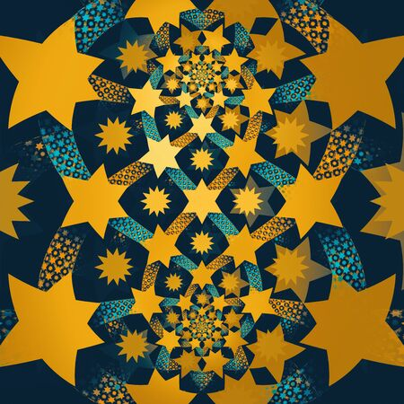 Swarming stars and braids on blue background