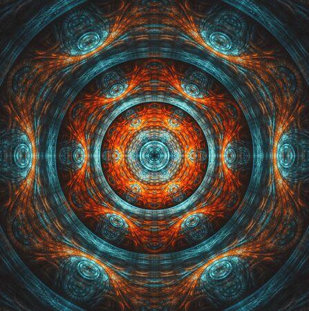 Blue and orange symmetrical mandala