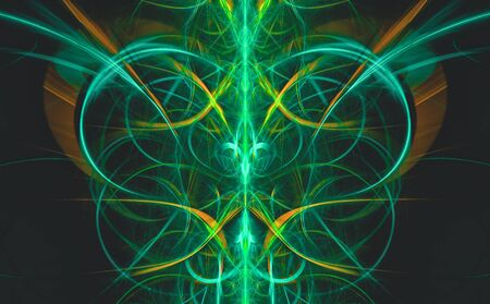 Abstract green tribal on dark background