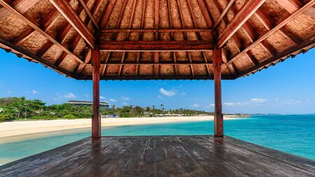 cabana: Looking out of hut at a tropical beach on a beautiful sunny day in Bali