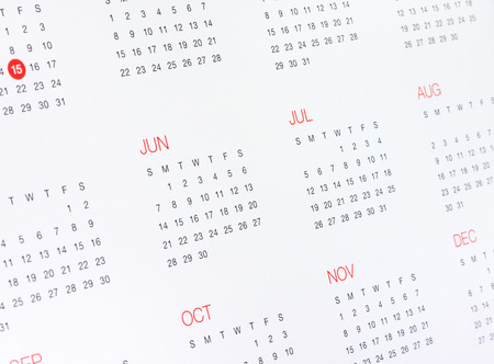 assignation: A Calendar  with months and days on white. Stock Photo