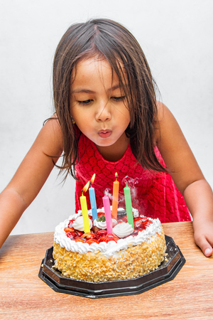 A young girl blowing out candles on her birthday cake. Stock Photo