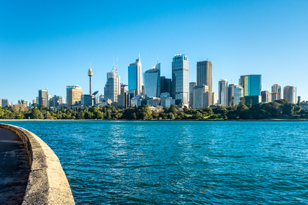 scenic view of Sydney City cbd as seen from the royal botanic gardens across the harbour. Stock Photo