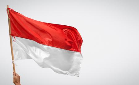 Indonesischer Unabhängigkeitstag mit Flaggen- und Kopierraum. Standard-Bild