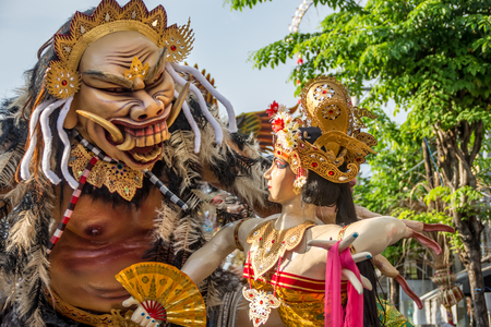 March 08 2016 -Bali, Indonesia : Ogoh-ogoh statues as they're locally known being paraded in the street on the eve of Nympi (silent day). Stock Photo - 118750874