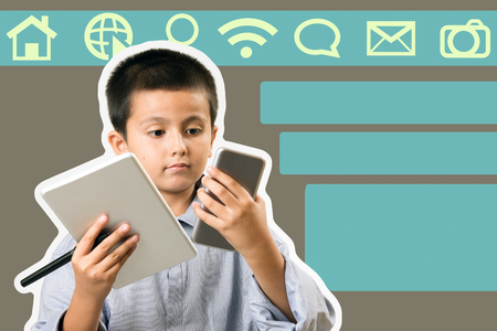 Boy wearing his fathers collared shirt pretending to be business man with phone and tablet. Childsplay, modern learning and technology concept image with copy space added for text.