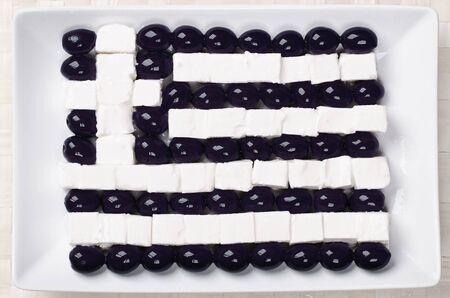 Food flag of Greece : fetaki and olives Stock Photo - 12047171
