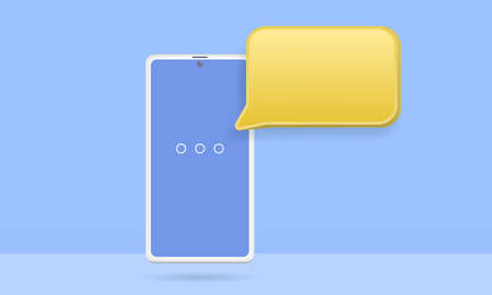 3D smartphone with floating chat bubbles, social media chat app
