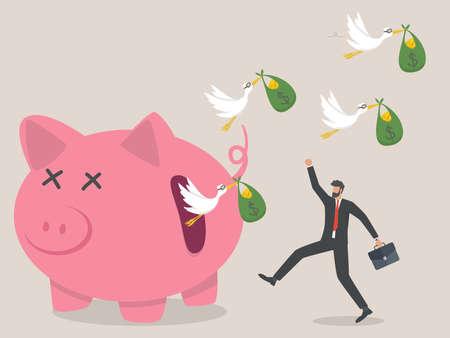 Hidden Costs of Investing concept, flock of birds carrying money flying. Ilustración de vector
