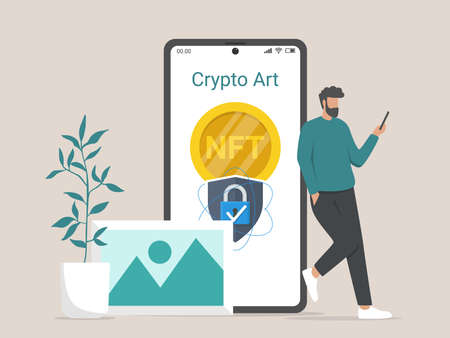 Illustration concept of converting artwork into digital NTF tokens Vektorgrafik