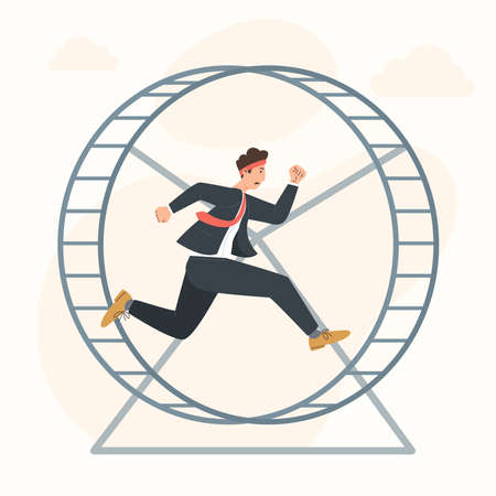 Career stagnation concept businessman running in hamster wheel Vector Illustratie