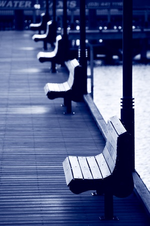 Series of Benches set on a peaceful quay side