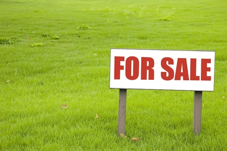 sell house: For sale sign on green grass Stock Photo