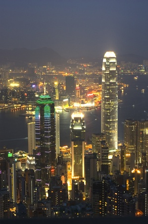 Landscape Shot of Hong Kong at Night Stock Photo - 8634392