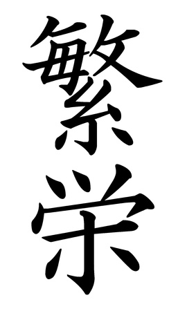 written communication: Japanese Kanji Characters for Prosperity