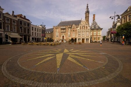 Main square in Haarlem, Netherlands, with a view of the town hall Фото со стока