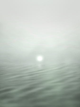 Surrealistic illustration of a sun setting behind an ocean - photomanipulation