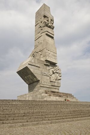 anti war: A monument for the defenders of polish borders in the WWII. Erected in Westerplatte near Gdansk. Famous local patriotic attraction Stock Photo