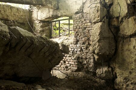 bombed city: Ruins of an old military bunker used during the defense of Westerplatte in Poland in the beginning of WWII