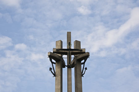 Three crosses, a monument to the solidarity political movement in Gdansk in Poland. Local touristic attraction.