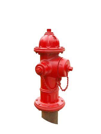 borne fontaine: Une bouche d'incendie rouge Banque d'images