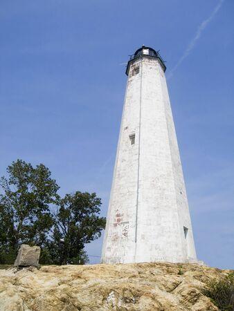 灯台ポイント、ニューヘブン、コネチカット州の灯台のビュー