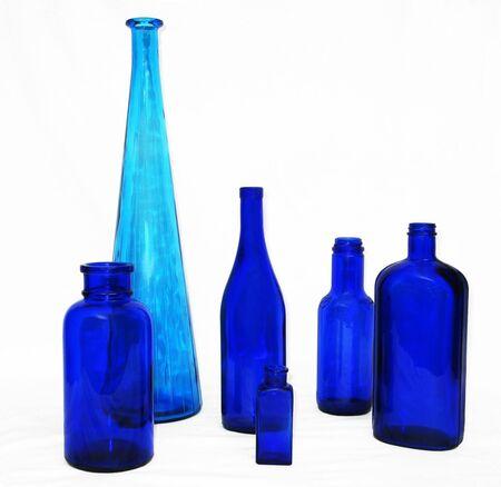 six blue bottles Reklamní fotografie