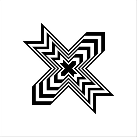 Black and white X cross symbol on white background vector. Stock Illustratie